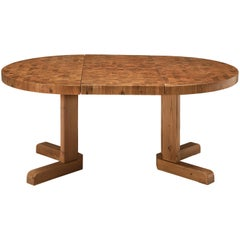 Scandinavian Extendable Pine End-Grain Table