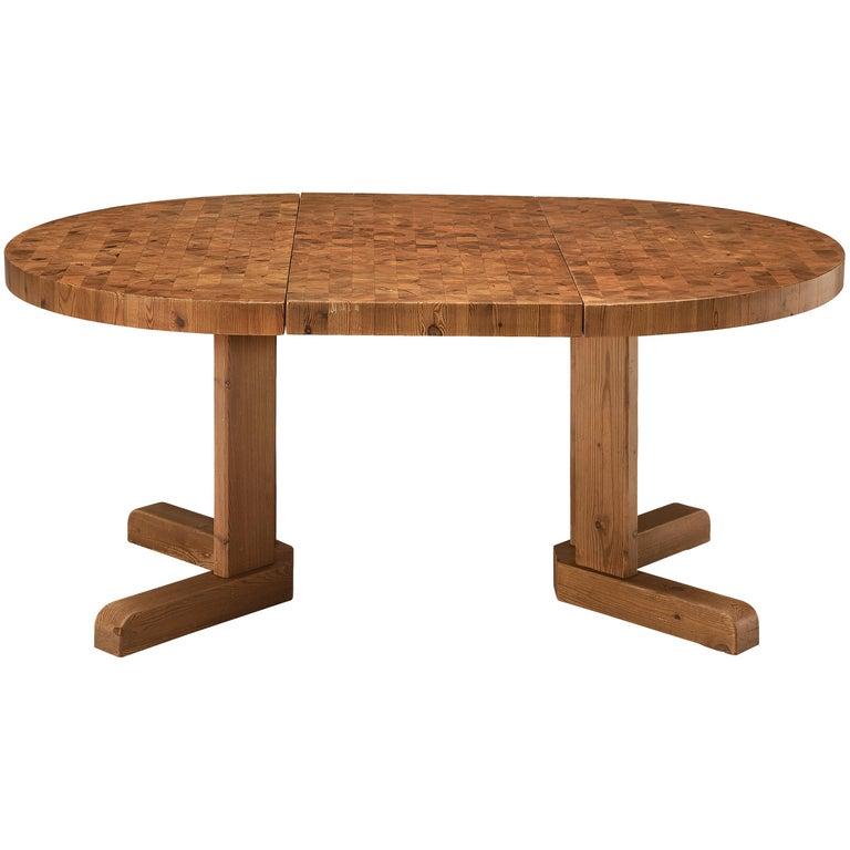 Scandinavian Extendable Pine End-Grain Table For Sale