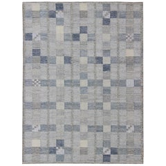 Scandinavian Flat-Weave Design Rug with Checkerboard Design in Gray and Blue