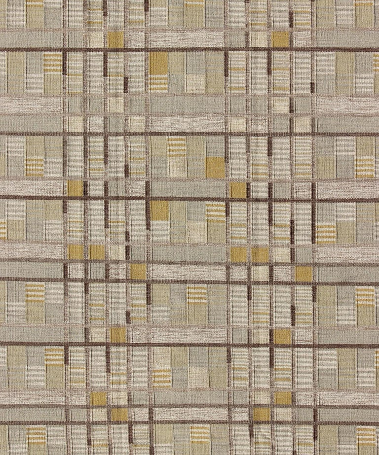 Scandinavian Flat-Weave Rug With Neutral Color Stripe