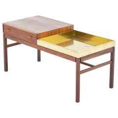 "Scandinavian Flower Table ""Casino"" in Rosewood and Brass by Engström & Myrstrand"