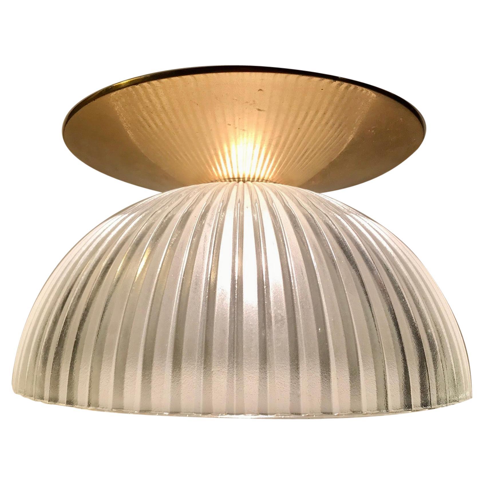 Scandinavian Fluted Glass and Brass Ceiling Lamp, 1970s