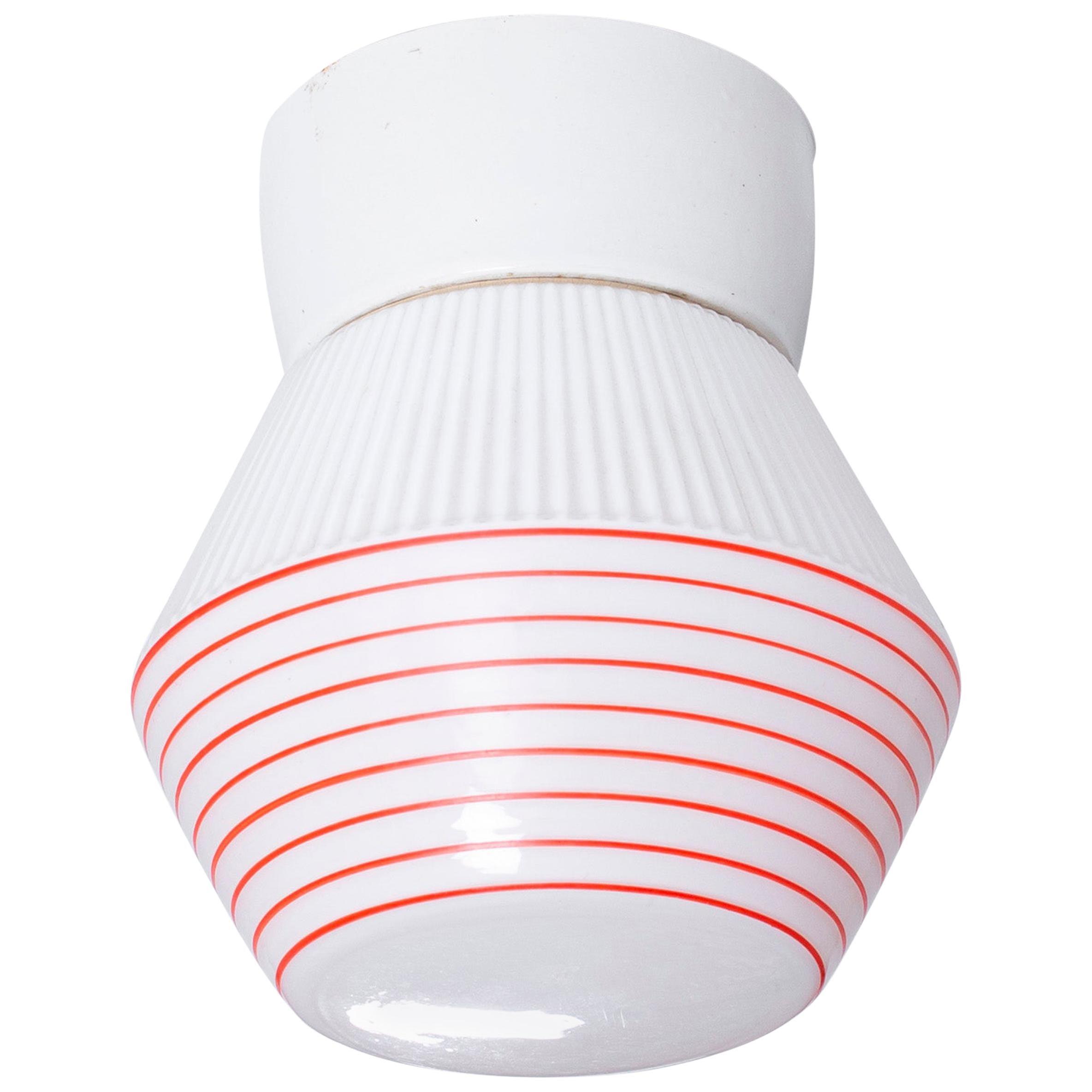 Scandinavian Functionalist Flushmount Ceiling Light, 1950s