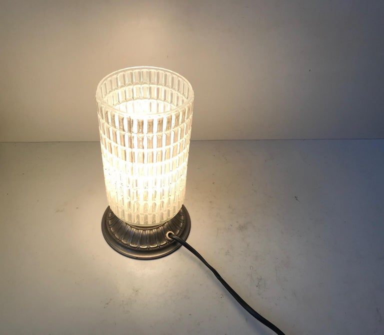 Mid-Century Modern Scandinavian Functionalist Table Lamp in Checkered Glass, 1950s For Sale