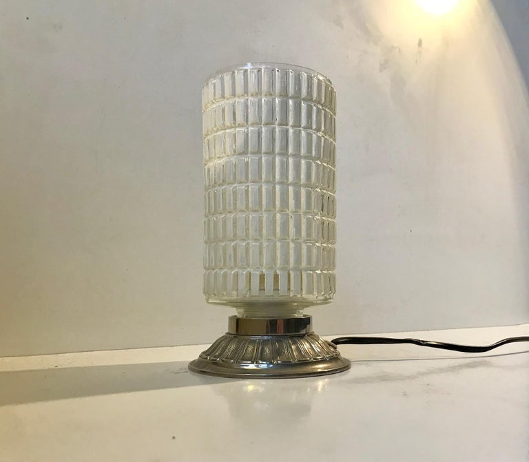 Mid-20th Century Scandinavian Functionalist Table Lamp in Checkered Glass, 1950s For Sale