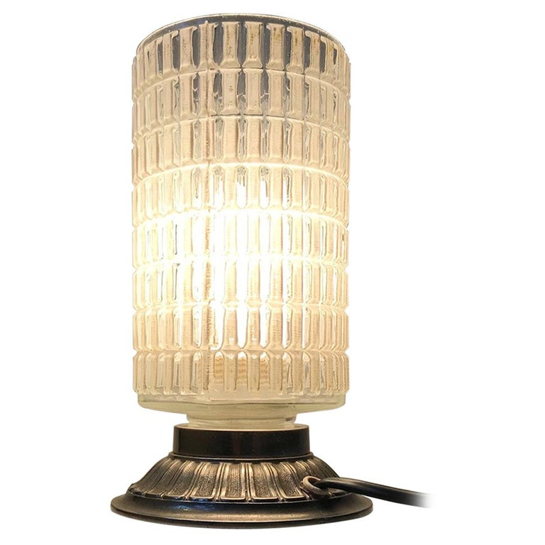 Scandinavian Functionalist Table Lamp in Checkered Glass, 1950s For Sale
