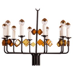 Scandinavian Glass and Iron Chandelier by Svend Aage Holm Sorensen
