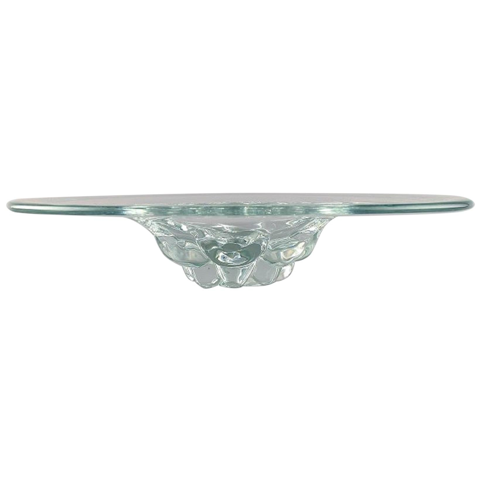 Scandinavian Glass Artist, Large Bowl in Mouth Blown Art Glass, 1960s-1970s