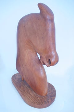 Scandinavian Hand-Carved Teak Horse Head Mid-century modern