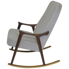 Scandinavian Highback Rocking Chair in Alpaca Mohair