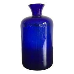Scandinavian Holmegaard Mid-Century Modern Design Blue Glass Vase Bottle, 1960s