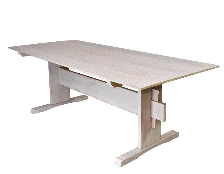 Limed Bonnin Ashley Custom-Bench Made Scandinavian Inspired Trestle Dining Table For Sale