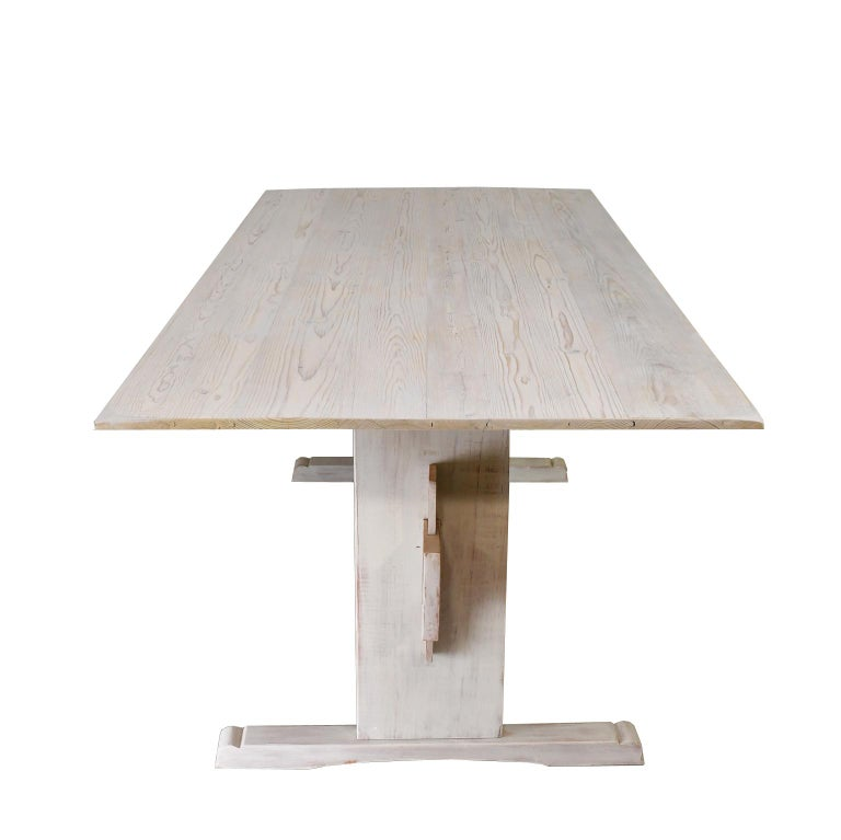American Bonnin Ashley Custom-Made Scandinavian Inspired Country Trestle Dining Table For Sale