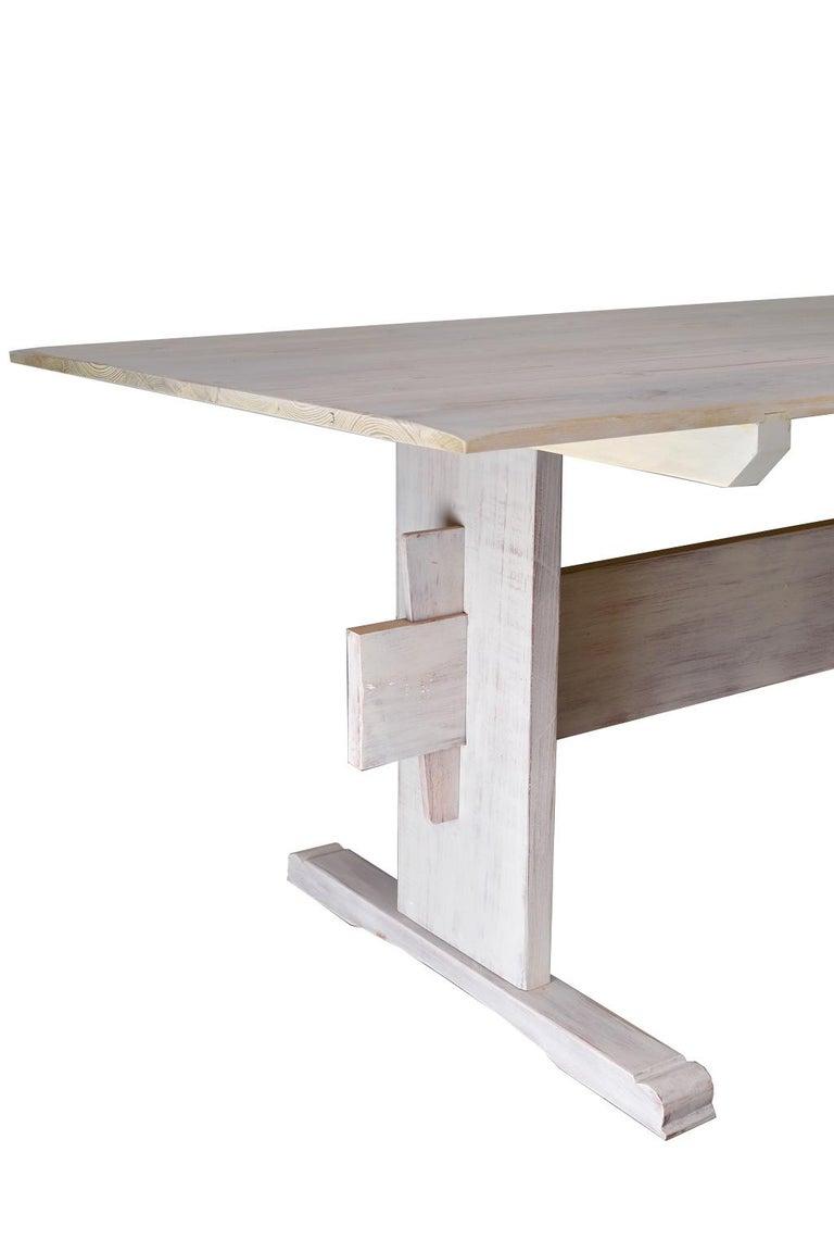 Limed Bonnin Ashley Custom-Made Scandinavian Inspired Country Trestle Dining Table For Sale