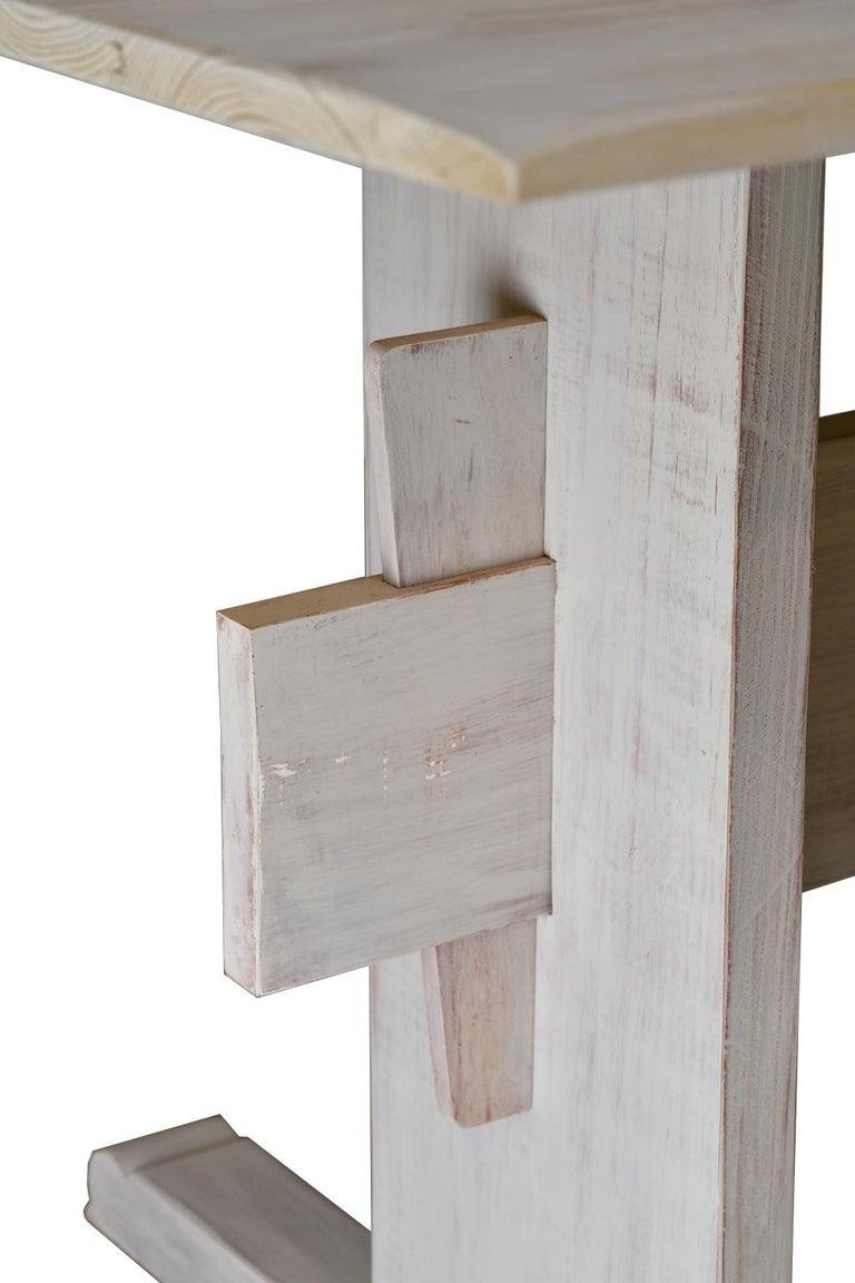 Gustavian Bonnin Ashley Custom-Bench Made Scandinavian Inspired Trestle Dining Table For Sale