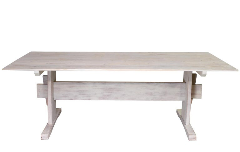 Bonnin Ashley Custom-Bench Made Scandinavian Inspired Trestle Dining Table In New Condition For Sale In Miami, FL