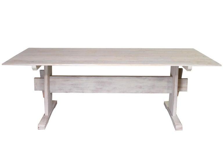 Pine Bonnin Ashley Custom-Made Scandinavian Inspired Country Trestle Dining Table For Sale