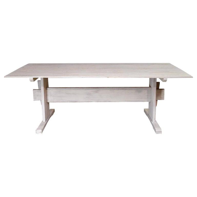 Bonnin Ashley Custom-Made Scandinavian Inspired Country Trestle Dining Table For Sale