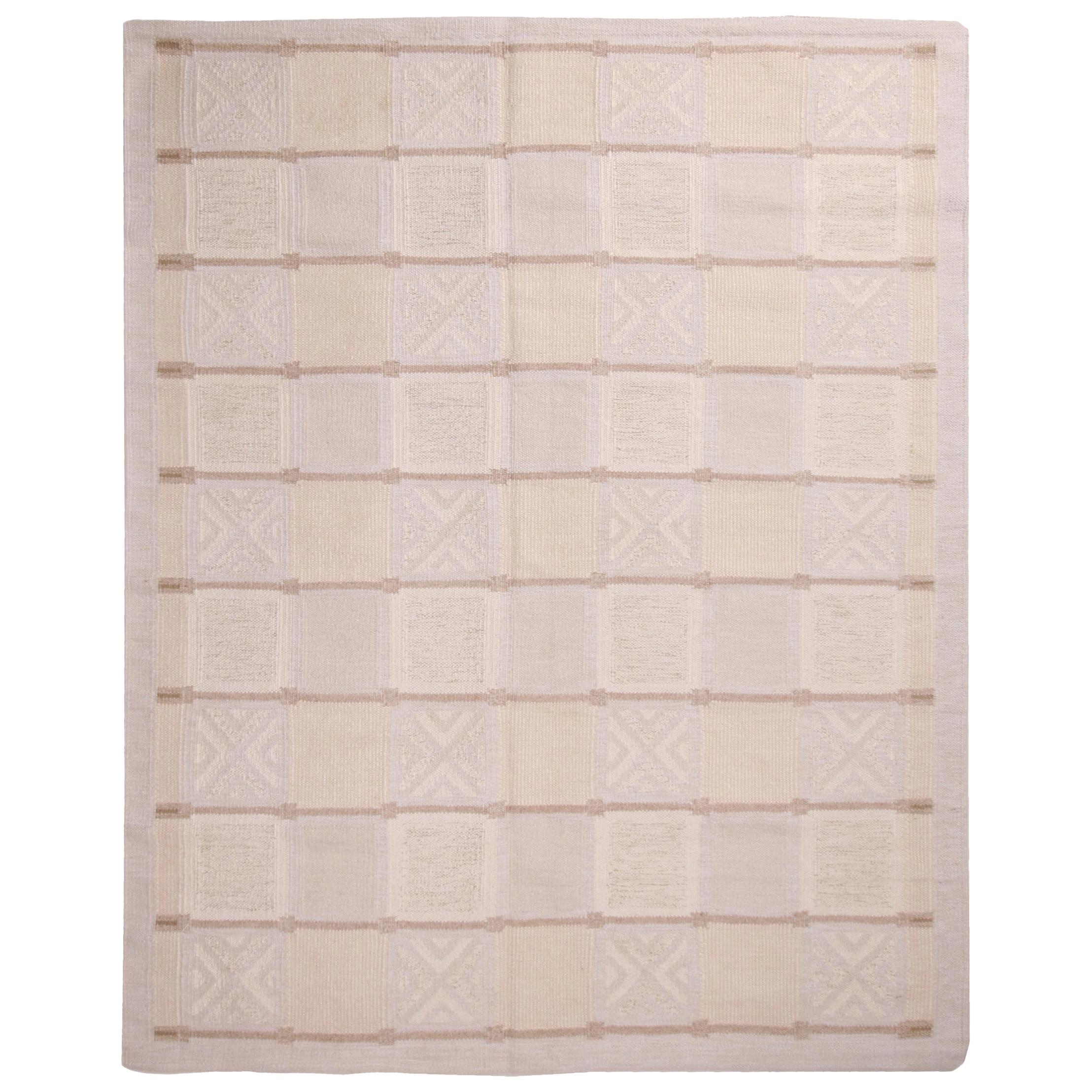 Scandinavian Inspired Geometric Gray and Cream Wool Pile Rug