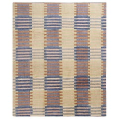 Scandinavian Inspired Hand Knotted Geometric Blue and Pink Wool Rug