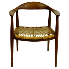 Scandinavian JH 501 Teak and Cane Round Chair by Hans Wegner for Johannes Hansen
