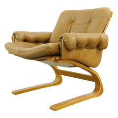 Scandinavian Kengu Easy Chair in Brown Leather by Solheim for Rykken, Norway