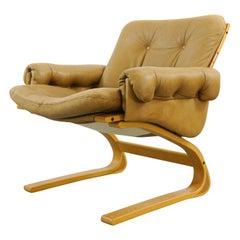 Scandinavian Kengu Easy Chair in Brown Leather by Solheim for Rykken, Norway