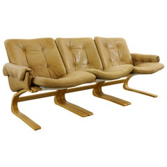 Scandinavian Kengu Sofa in Brown Leather by Solheim for Rykken, Norway