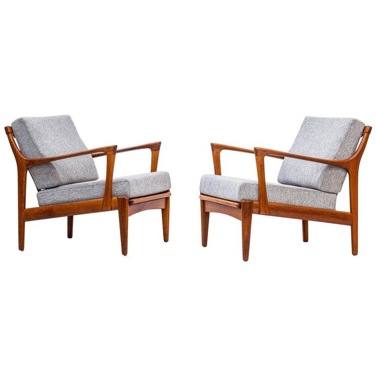 "Scandinavian ""Kuba"" Lounge Chairs Designed by Bertil Fridhagen, Sweden, 1950s For Sale"