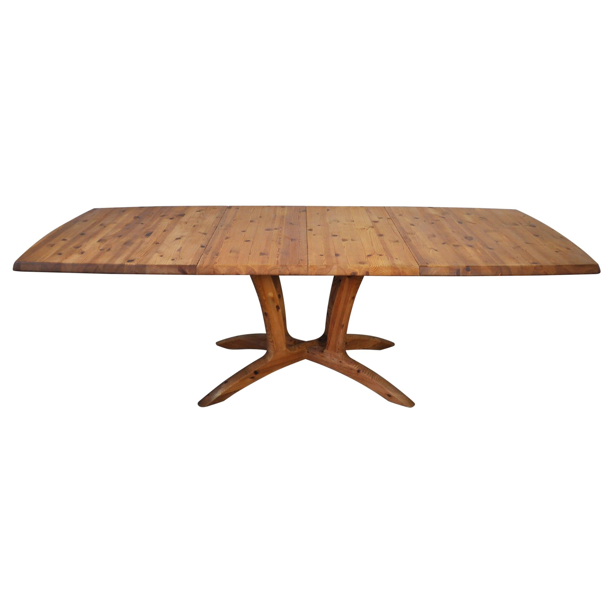 Scandinavian Large Extendable Pine Dining Table