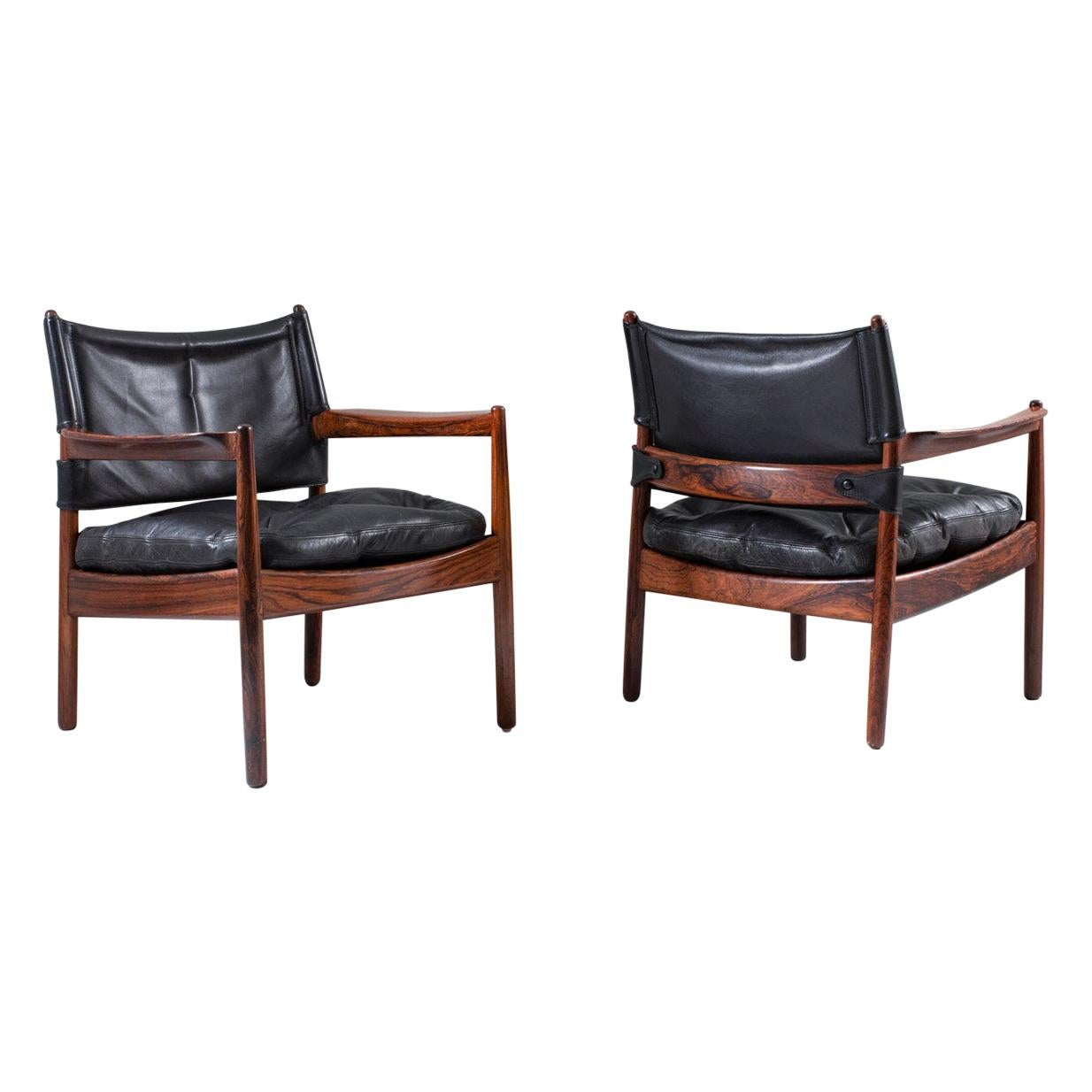 Scandinavian Leather and Rosewood Lounge Chairs by Gunnar Myrstrand, Sweden