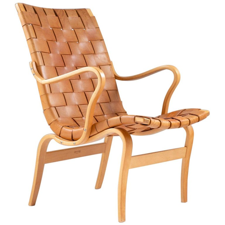"Scandinavian Leather Easy Chair ""Eva"" by Bruno Mathsson For Sale"