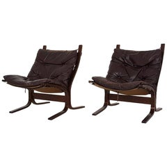 Scandinavian Leather Lounge Chairs by Ingmar Relling for Westnofa, Norway, 1960s