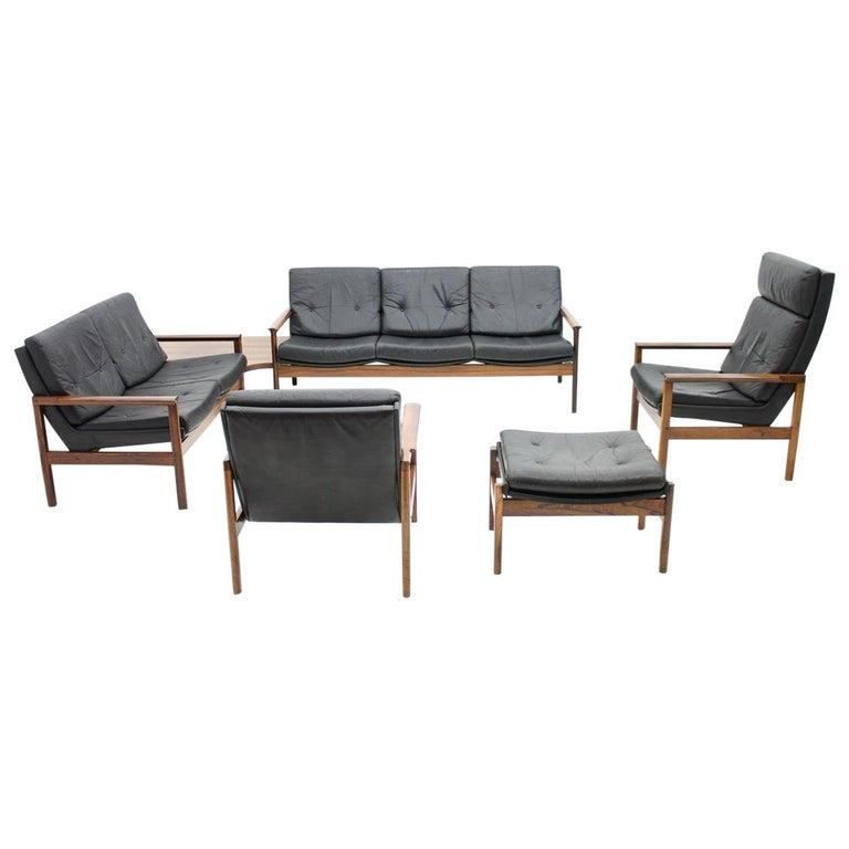 Scandinavian Living Room Set 1970s With 2 Sofas, 2 Lounge
