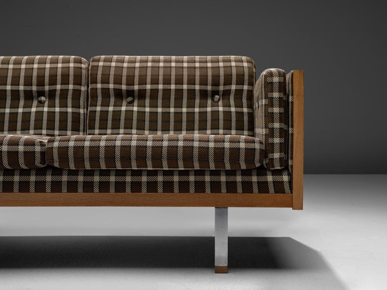 Scandinavian Living Room Set in Oak and Checkered Upholstery For Sale 4