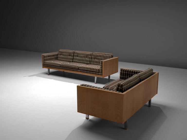 Mid-Century Modern Scandinavian Living Room Set in Oak and Checkered Upholstery For Sale