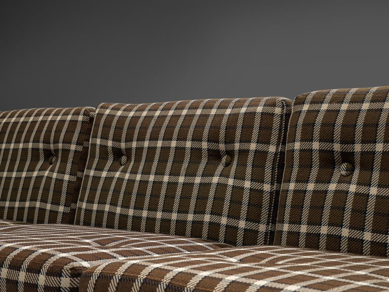 Mid-20th Century Scandinavian Living Room Set in Oak and Checkered Upholstery For Sale