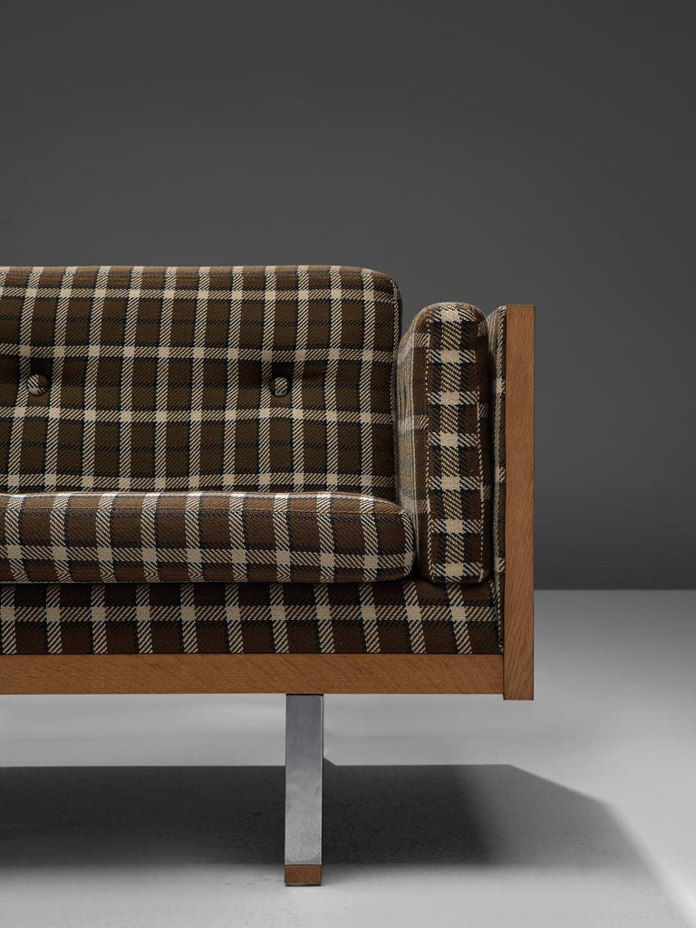 Metal Scandinavian Living Room Set in Oak and Checkered Upholstery For Sale