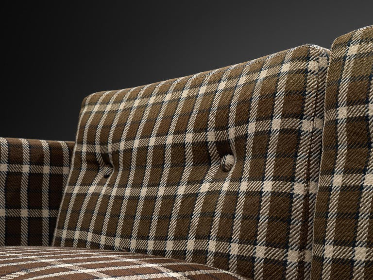 Scandinavian Living Room Set in Oak and Checkered Upholstery For Sale 2