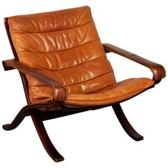 Scandinavian Lounge Chair Flex with Cognac Leather by I. Relling for Westnofa