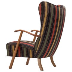 Scandinavian Lounge Chair in Black Striped Fabric