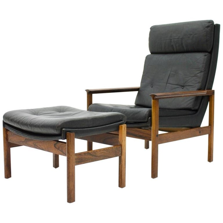 Remarkable Scandinavian Lounge Chair With Stool In Wood And Black Leather 1960S Andrewgaddart Wooden Chair Designs For Living Room Andrewgaddartcom