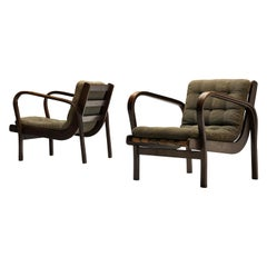Scandinavian Lounge Chairs in Stained Beech and Green Fabric Upholstery