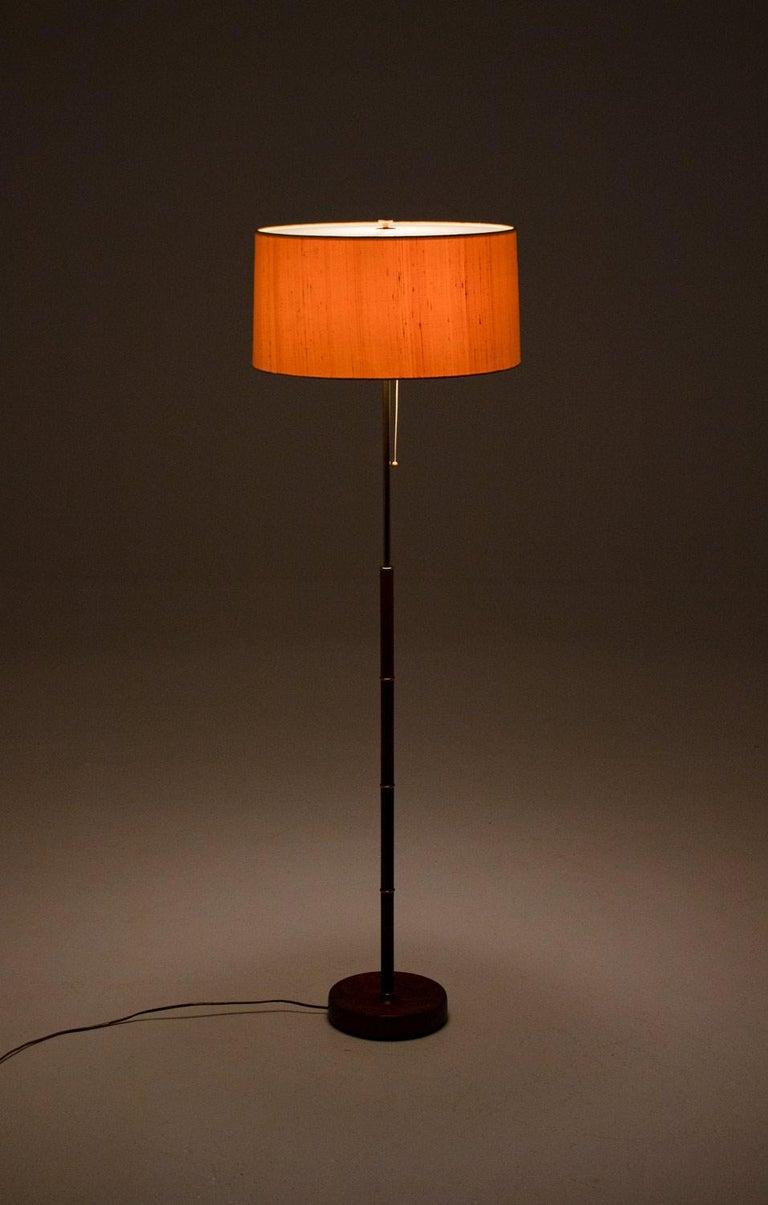 Scandinavian Modern Scandinavian Midcentury Floor Lamp in Brass and Rosewood by Bergboms, Sweden
