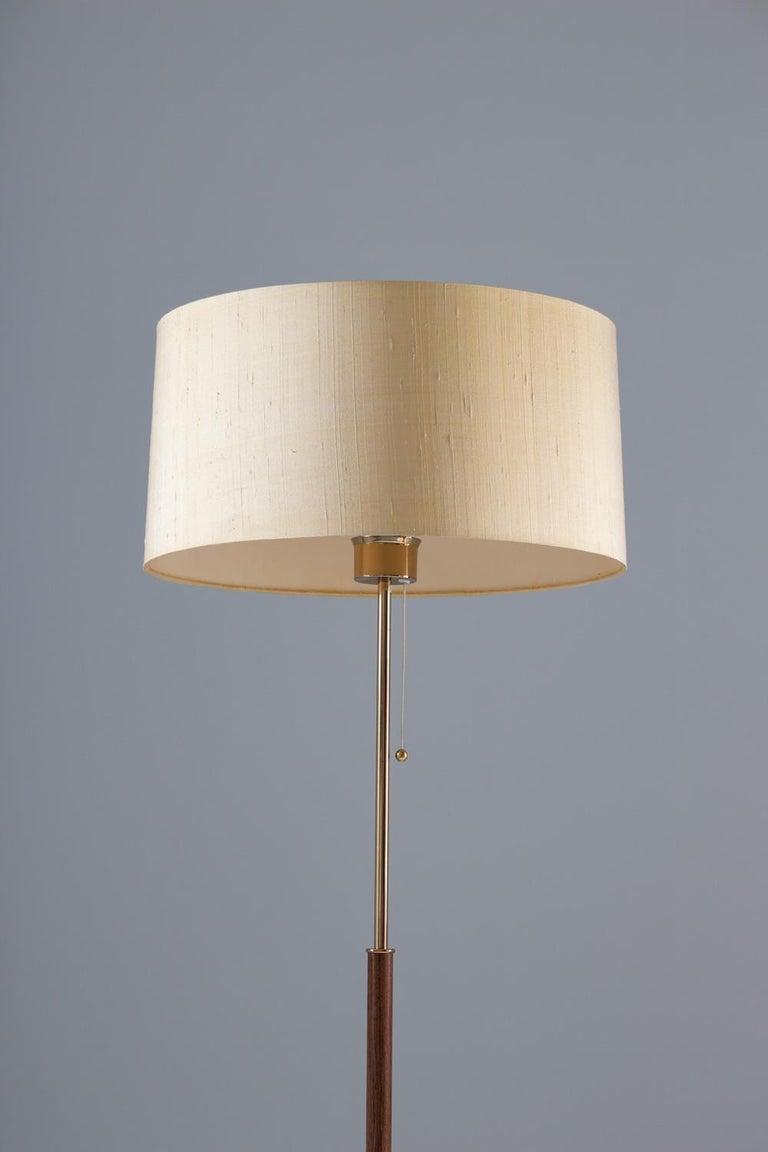 Swedish Scandinavian Midcentury Floor Lamp in Brass and Rosewood by Bergboms, Sweden