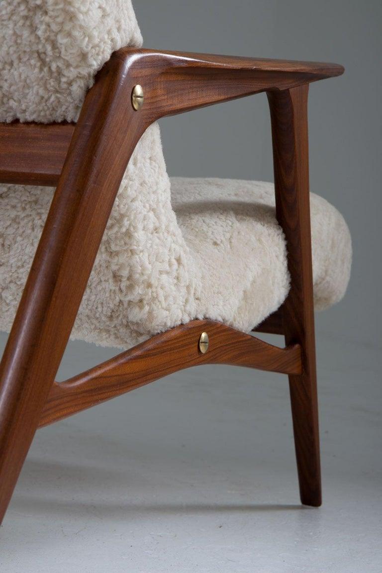 Sheepskin Scandinavian Mid Century Lounge Chair by Jio Möbler For Sale