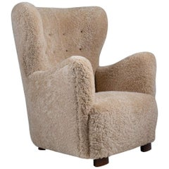 Scandinavian Mid Century Lounge Chair in Sheepskin