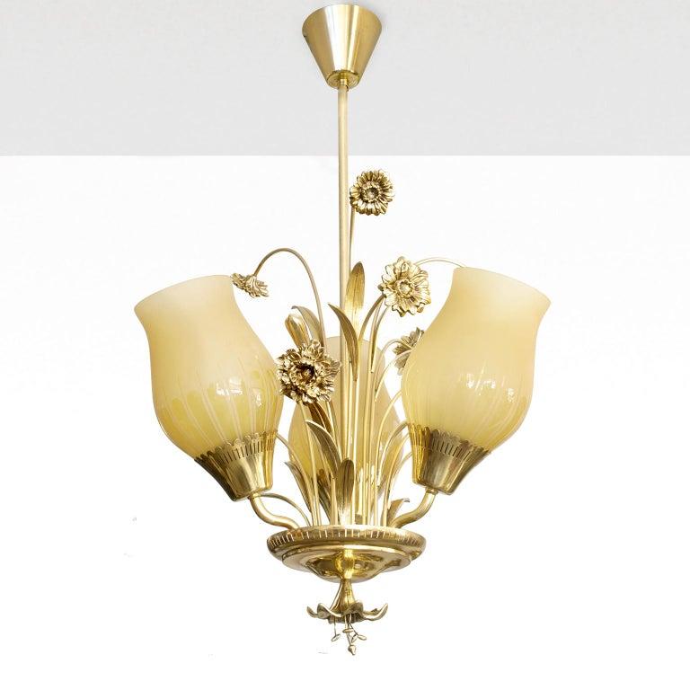 Scandinavian Modern Scandinavian Mid-Century Modern Brass Chandelier by Bröderna Malmström For Sale