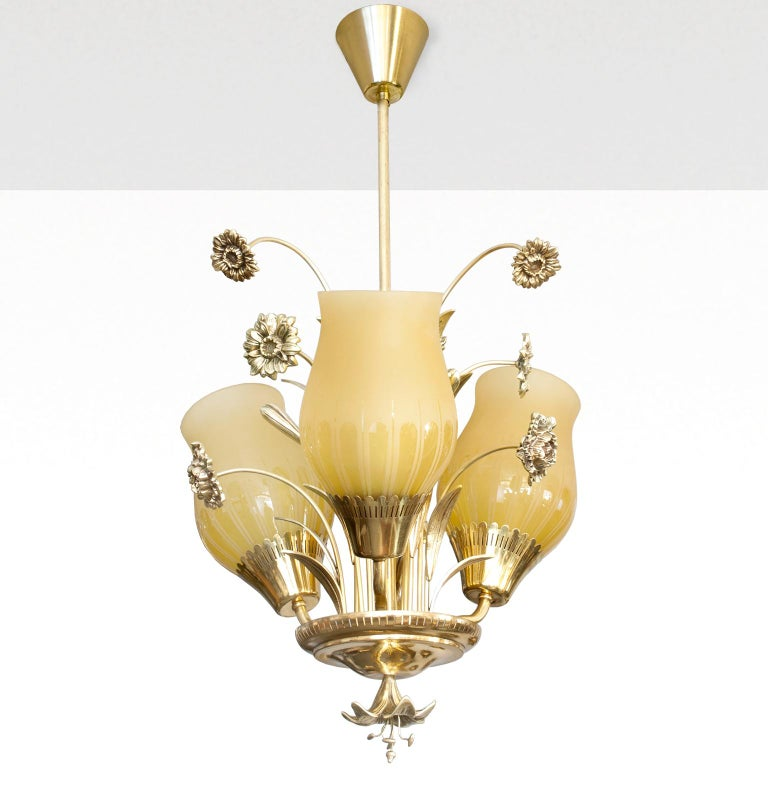 Etched Scandinavian Mid-Century Modern Brass Chandelier by Bröderna Malmström For Sale