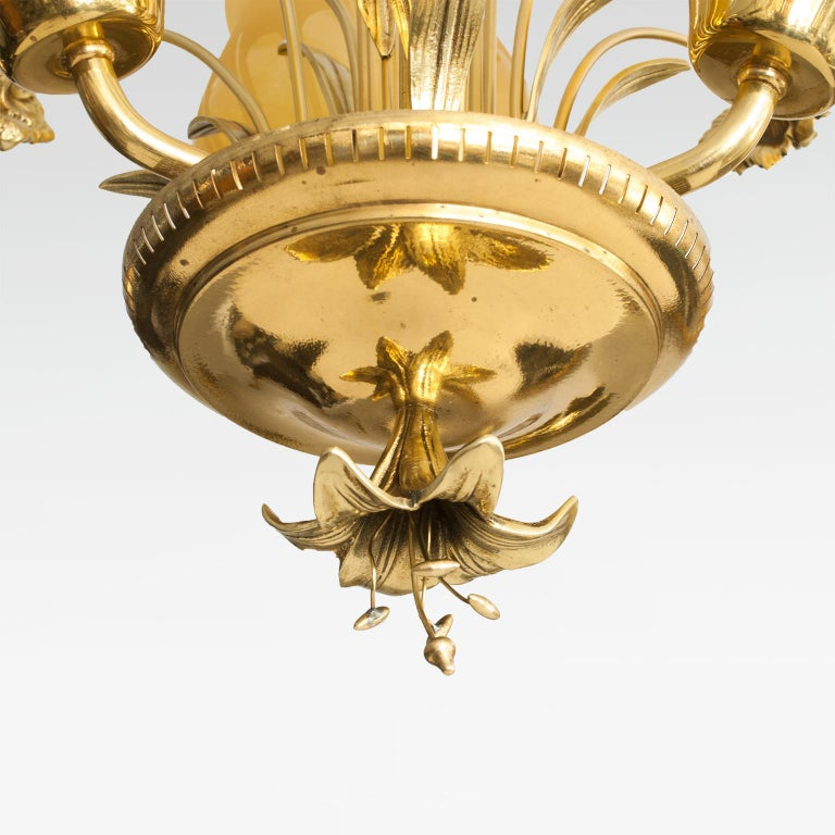 Scandinavian Mid-Century Modern Brass Chandelier by Bröderna Malmström In Good Condition For Sale In New York, NY